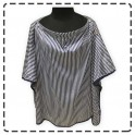 เสื้อคลุมให้นมแบบเต็มตัว มีโครง ผ้าซาติน (ริ้วกรมขาว)