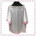 เสื้อคลุมให้นมแบบเต็มตัว มีโครง ผ้าซาติน (ขาวดอกชมพุเล็ก)